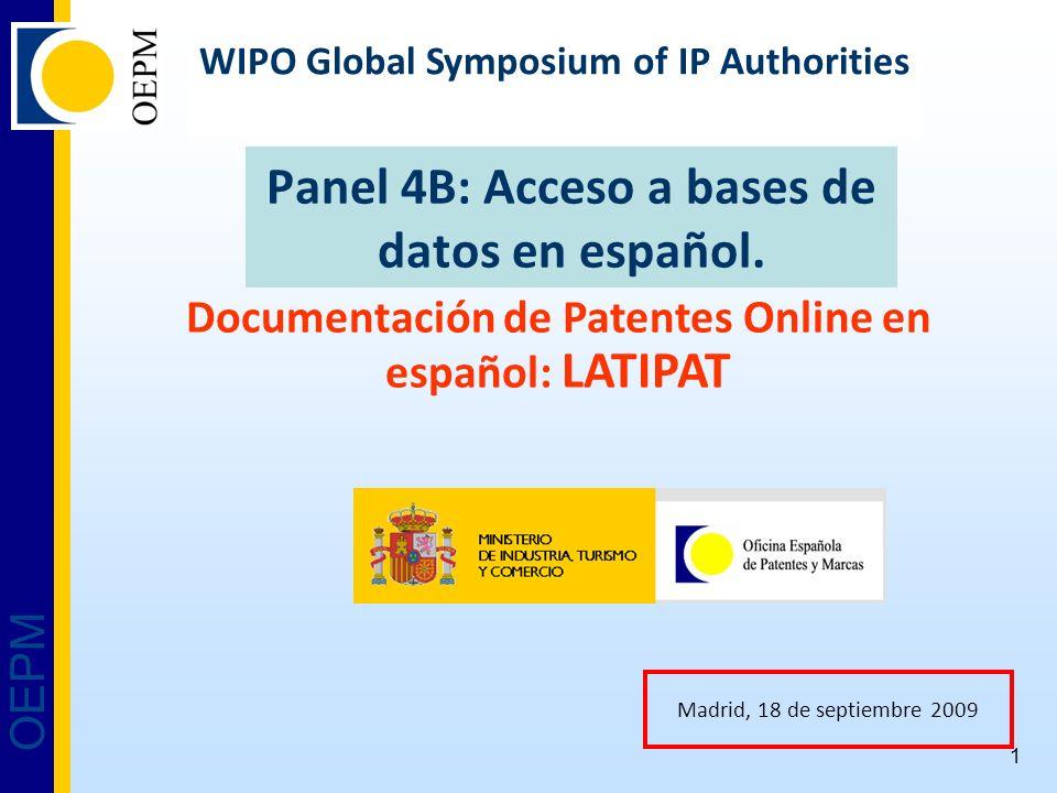 OEPM 1 Panel 4B: Acceso a bases de datos en español.