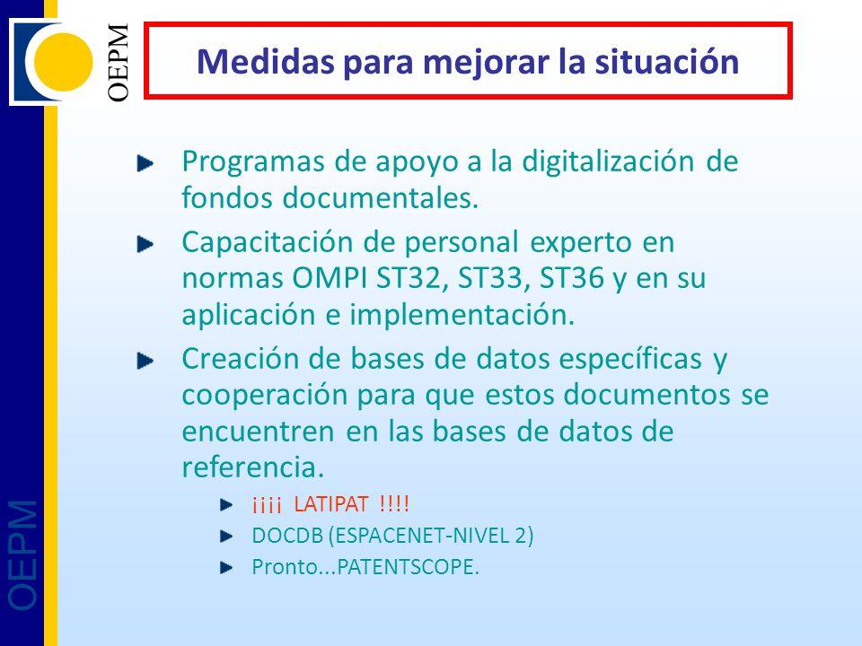 OEPM Medidas para mejorar la situación Programas de apoyo a la digitalización de fondos documentales. Capacitación de personal experto en normas OMPI