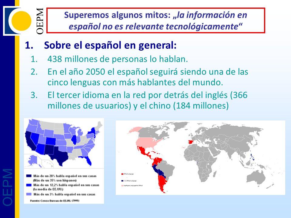OEPM Superemos algunos mitos: la información en español no es relevante tecnológicamente 1.Sobre el español en general: 1.438 millones de personas lo hablan.