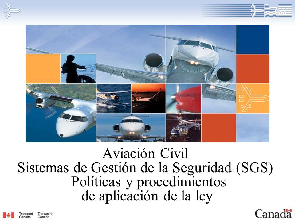 RDIMS 23002472 Plan de la presentación Vancouver, 9 de noviembre de 2006 Definición de SGS Aplicación de los reglamentos de SGS Requisitos legales Política de aplicación de la legislación de la Aviación Civil Procedimientos de aplicación de la legislación de la Aviación Civil Mensaje clave