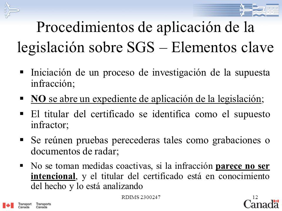 RDIMS 230024712 Procedimientos de aplicación de la legislación sobre SGS – Elementos clave Iniciación de un proceso de investigación de la supuesta in