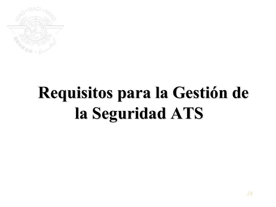 10 Requisitos para la Gestión de la Seguridad ATS Requisitos para la Gestión de la Seguridad ATS