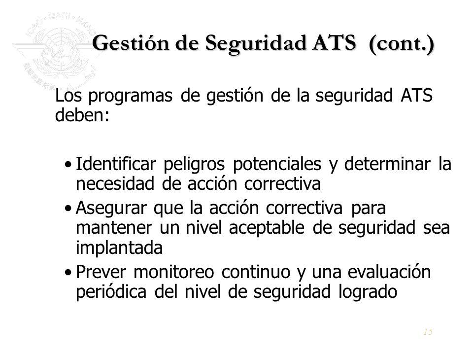 15 Gestión de Seguridad ATS (cont.) Los programas de gestión de la seguridad ATS deben: Identificar peligros potenciales y determinar la necesidad de