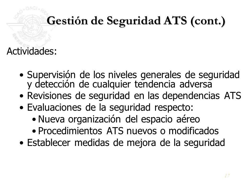 17 Gestión de Seguridad ATS (cont.) Actividades: Supervisión de los niveles generales de seguridad y detección de cualquier tendencia adversa Revision