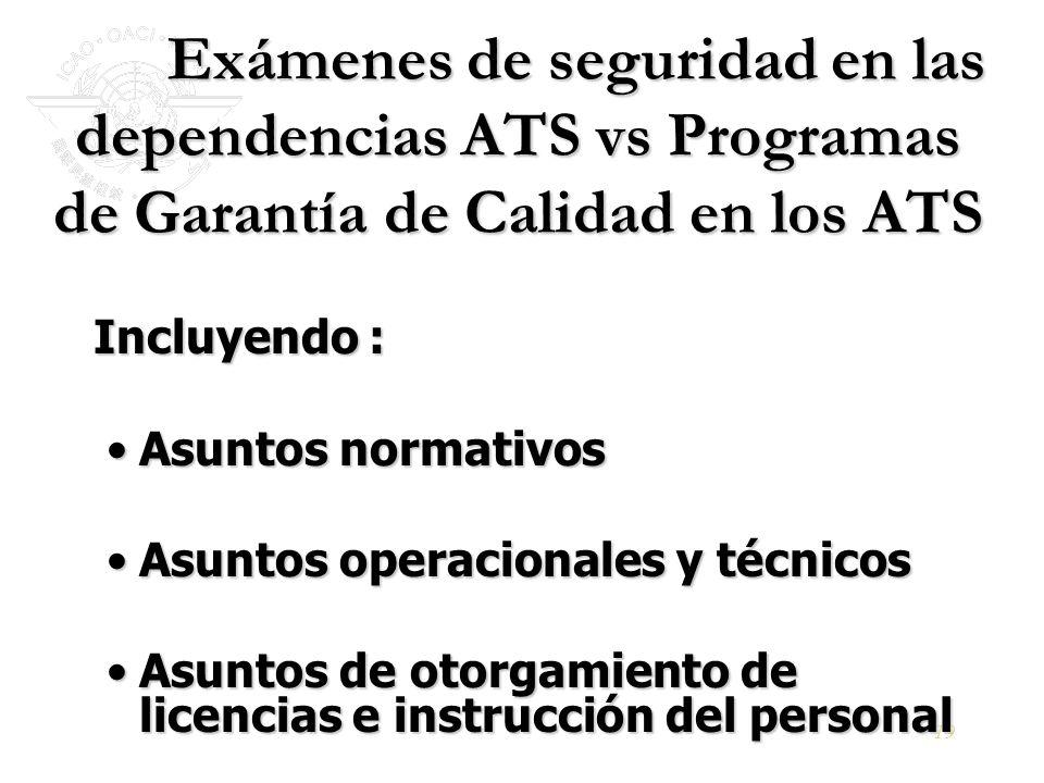 19 Exámenes de seguridad en las dependencias ATS vs Programas de Garantía de Calidad en los ATS Exámenes de seguridad en las dependencias ATS vs Progr