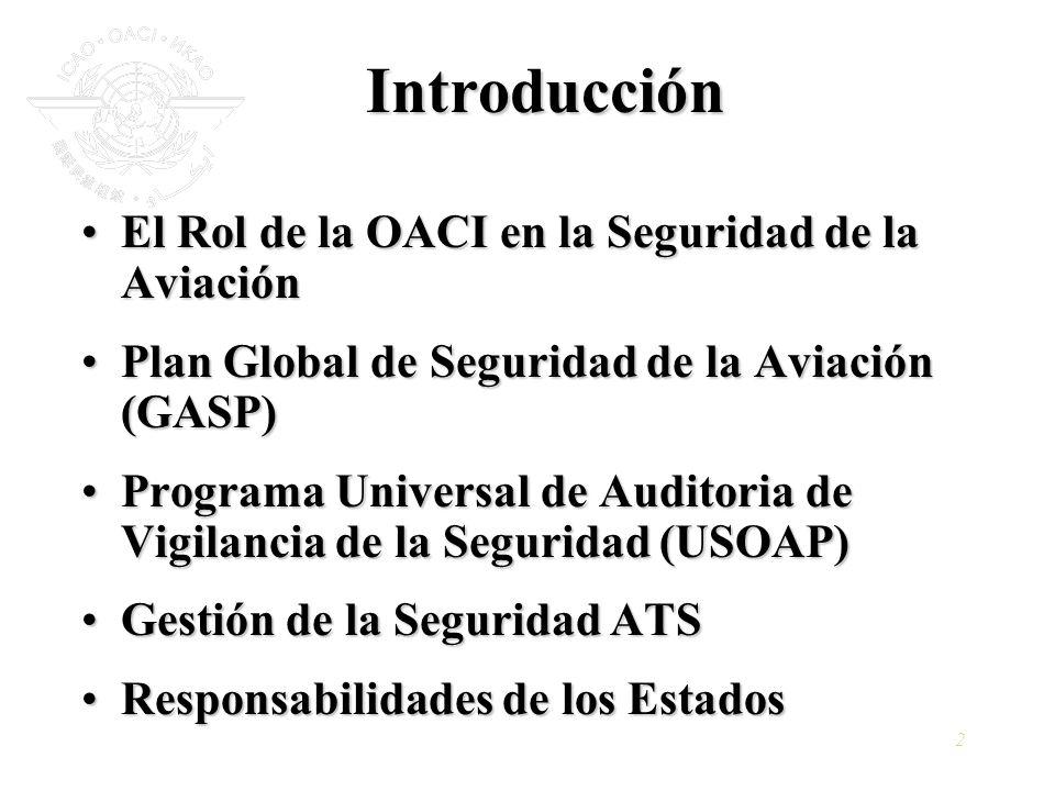 2 Introducción El Rol de la OACI en la Seguridad de la AviaciónEl Rol de la OACI en la Seguridad de la Aviación Plan Global de Seguridad de la Aviació