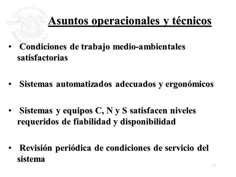 21 Asuntos operacionales y técnicos Condiciones de trabajo medio-ambientales satisfactorias Condiciones de trabajo medio-ambientales satisfactorias Si