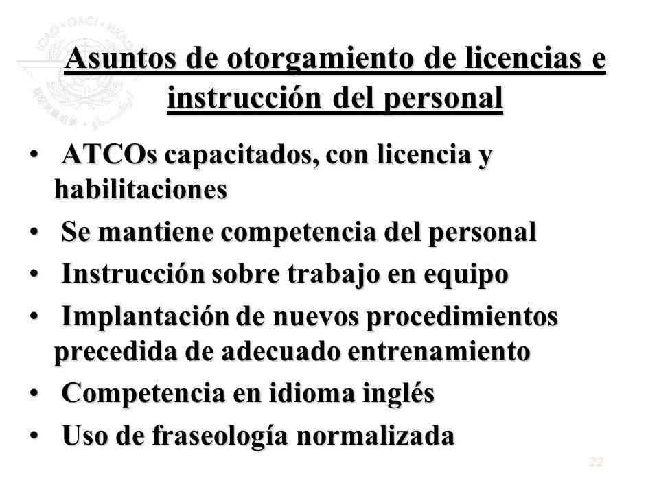 22 Asuntos de otorgamiento de licencias e instrucción del personal ATCOs capacitados, con licencia y habilitaciones ATCOs capacitados, con licencia y