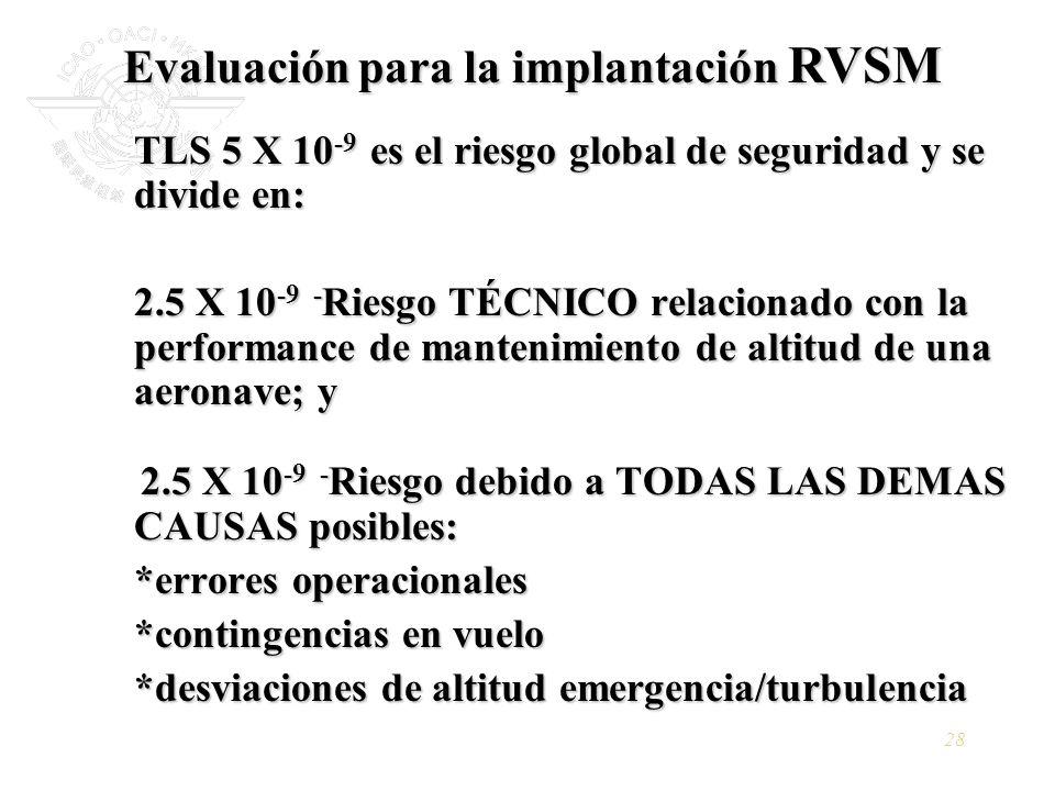 28 TLS 5 X 10 -9 es el riesgo global de seguridad y se divide en: 2.5 X 10 -9 - Riesgo TÉCNICO relacionado con la performance de mantenimiento de alti