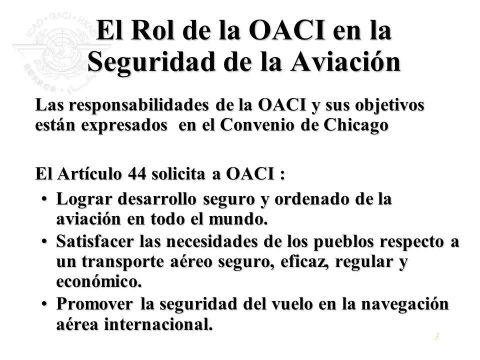 3 El Rol de la OACI en la Seguridad de la Aviación Las responsabilidades de la OACI y sus objetivos están expresados en el Convenio de Chicago El Artí