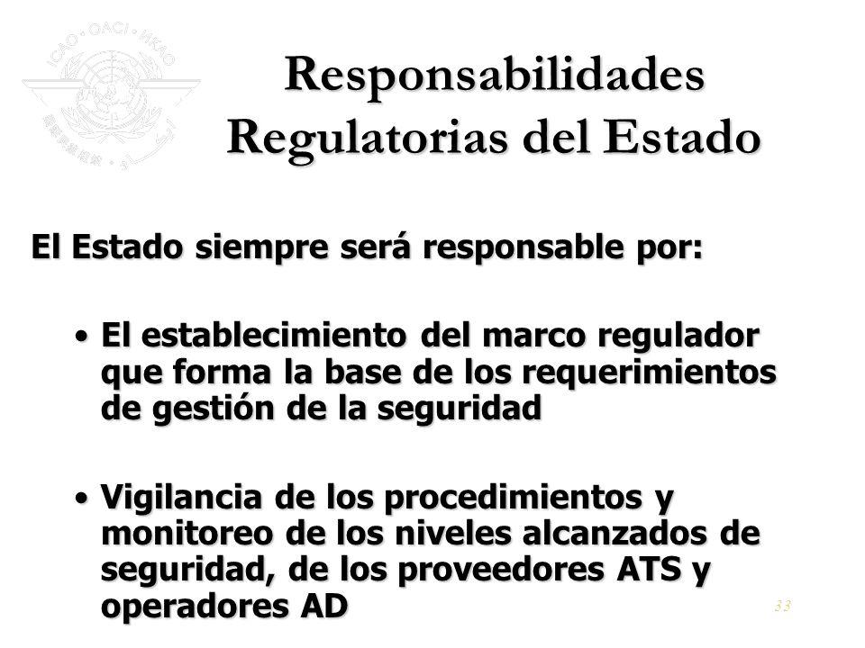 33 Responsabilidades Regulatorias del Estado El Estado siempre será responsable por: El establecimiento del marco regulador que forma la base de los r