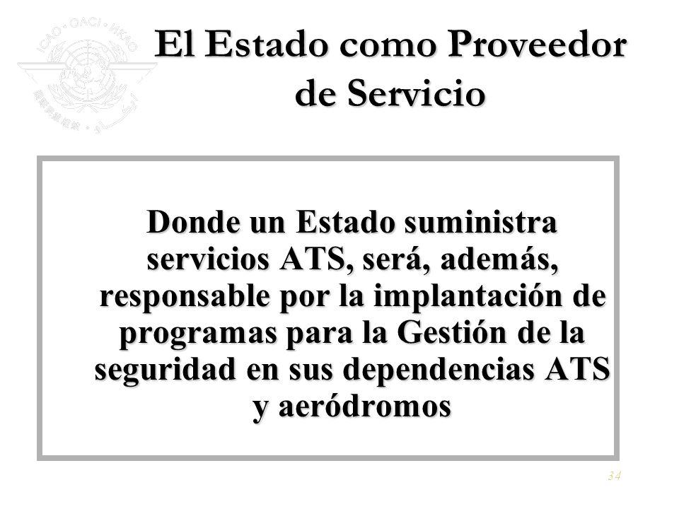 34 El Estado como Proveedor de Servicio Donde un Estado suministra servicios ATS, será, además, responsable por la implantación de programas para la G