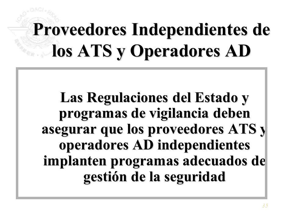 35 Proveedores Independientes de los ATS y Operadores AD Las Regulaciones del Estado y programas de vigilancia deben asegurar que los proveedores ATS