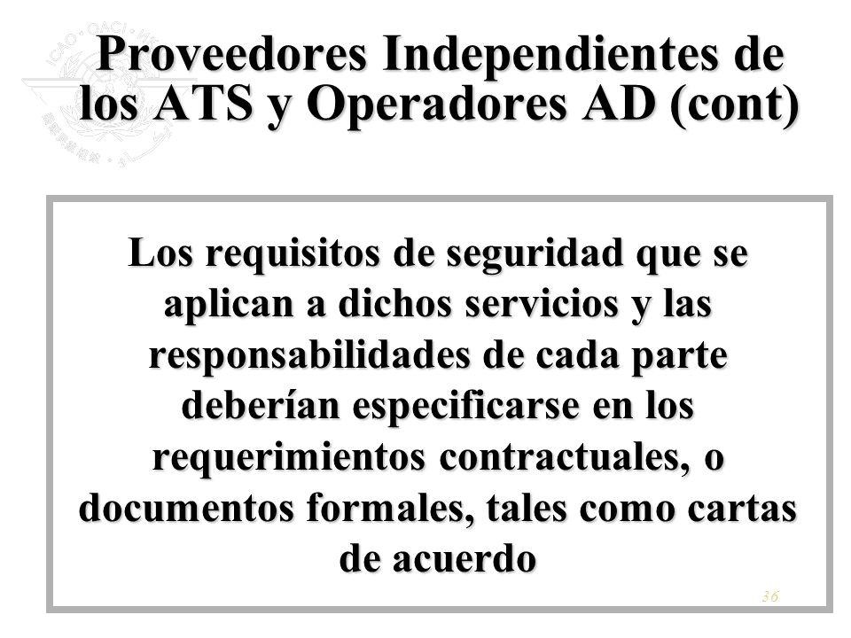36 Proveedores Independientes de los ATS y Operadores AD (cont) Los requisitos de seguridad que se aplican a dichos servicios y las responsabilidades