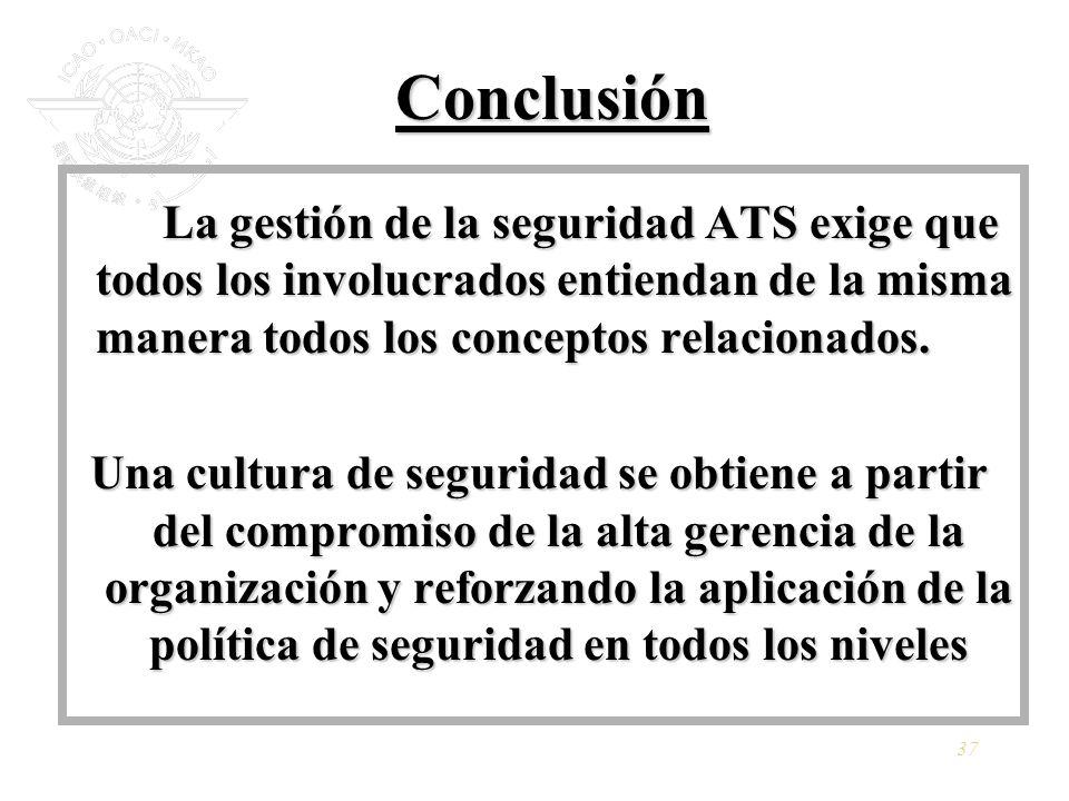 37 Conclusión La gestión de la seguridad ATS exige que todos los involucrados entiendan de la misma manera todos los conceptos relacionados. Una cultu