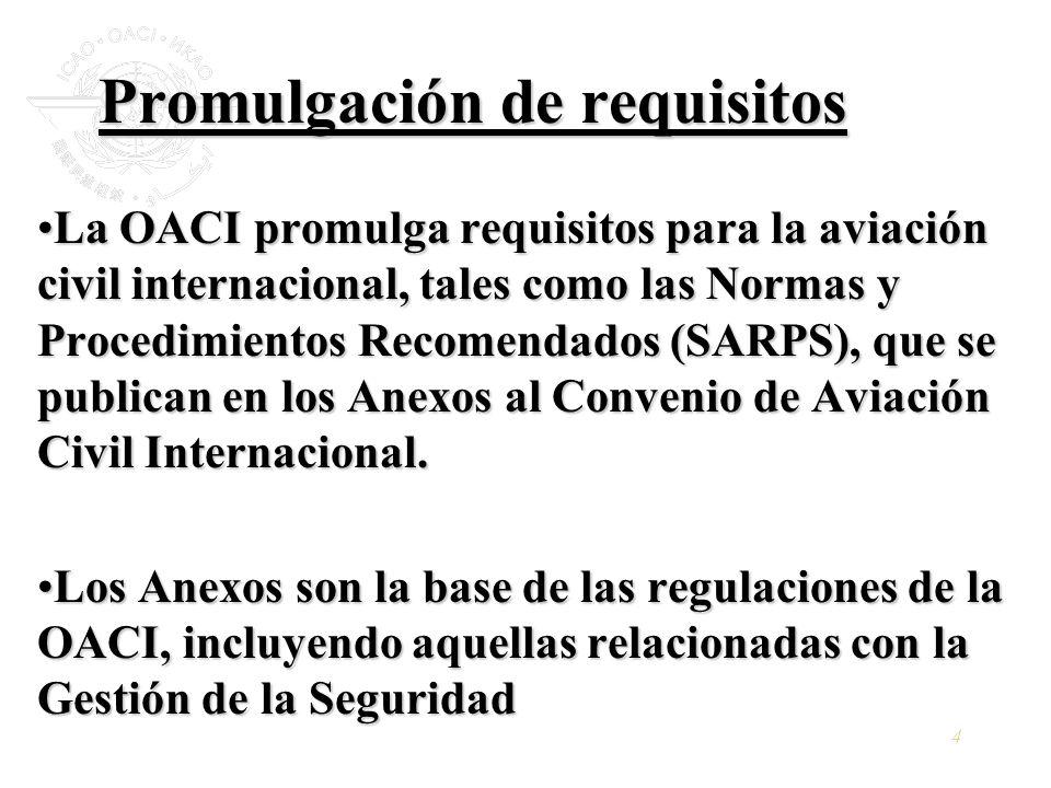 4 Promulgación de requisitos La OACI promulga requisitos para la aviación civil internacional, tales como las Normas y Procedimientos Recomendados (SA