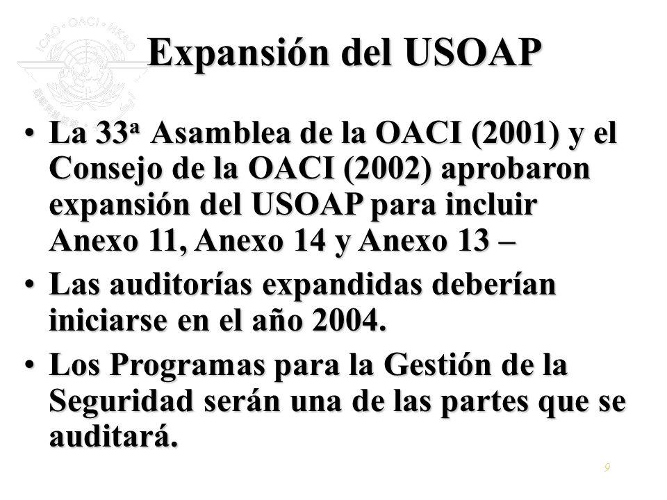 9 Expansión del USOAP La 33 a Asamblea de la OACI (2001) y el Consejo de la OACI (2002) aprobaron expansión del USOAP para incluir Anexo 11, Anexo 14