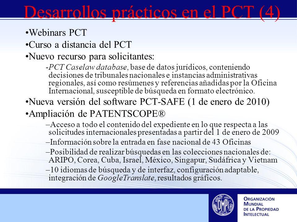 Webinars PCT Curso a distancia del PCT Nuevo recurso para solicitantes: -PCT Caselaw database, base de datos jurídicos, conteniendo decisiones de tribunales nacionales e instancias administrativas regionales, así como resúmenes y referencias añadidas por la Oficina Internacional, susceptible de búsqueda en formato electrónico.