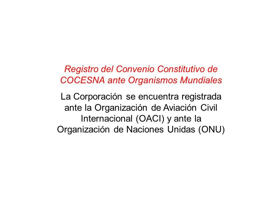 Registro del Convenio Constitutivo de COCESNA ante Organismos Mundiales La Corporación se encuentra registrada ante la Organización de Aviación Civil