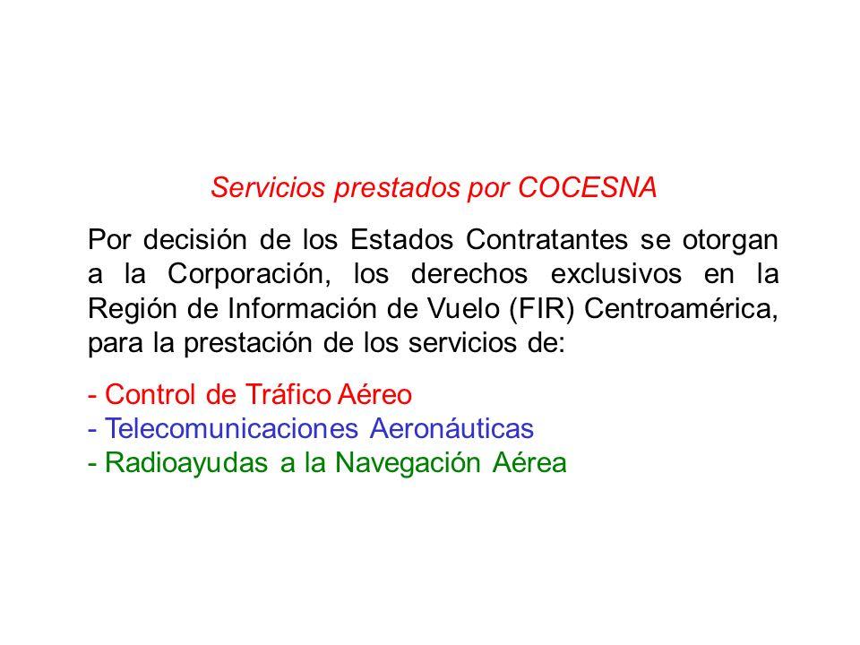 Servicios prestados por COCESNA Por decisión de los Estados Contratantes se otorgan a la Corporación, los derechos exclusivos en la Región de Informac