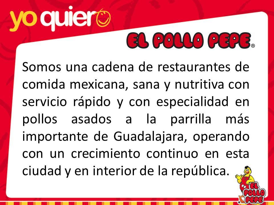 Somos una cadena de restaurantes de comida mexicana, sana y nutritiva con servicio rápido y con especialidad en pollos asados a la parrilla más importante de Guadalajara, operando con un crecimiento continuo en esta ciudad y en interior de la república.