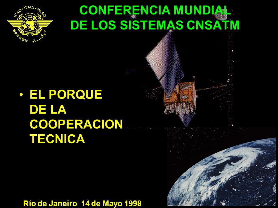 CONFERENCIA MUNDIAL DE LOS SISTEMAS CNSATM EL PORQUE DE LA COOPERACION TECNICA Río de Janeiro 14 de Mayo 1998
