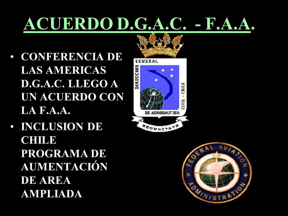 ACUERDO D.G.A.C. - F.A.A. CONFERENCIA DE LAS AMERICAS D.G.A.C. LLEGO A UN ACUERDO CON LA F.A.A. INCLUSION DE CHILE PROGRAMA DE AUMENTACIÓN DE AREA AMP
