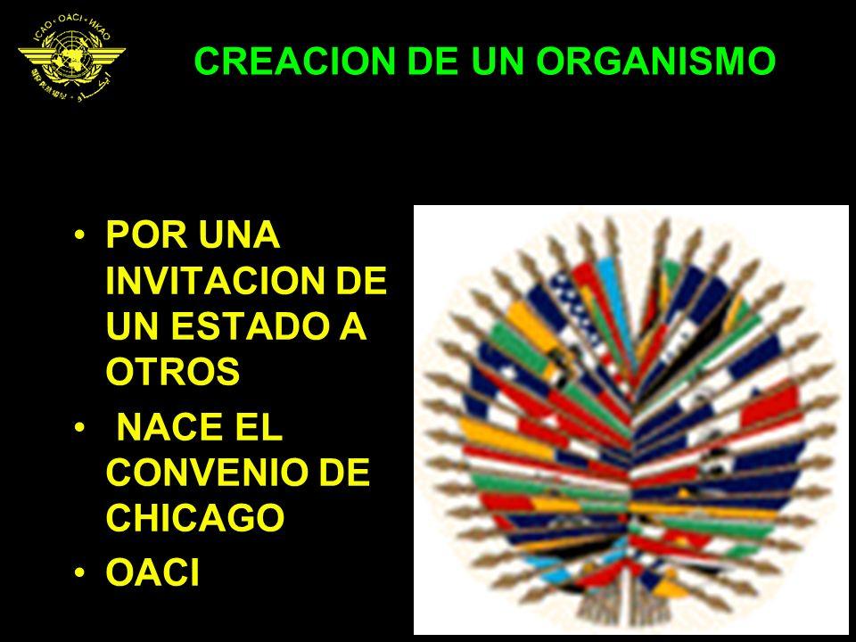 CREACION DE UN ORGANISMO POR UNA INVITACION DE UN ESTADO A OTROS NACE EL CONVENIO DE CHICAGO OACI