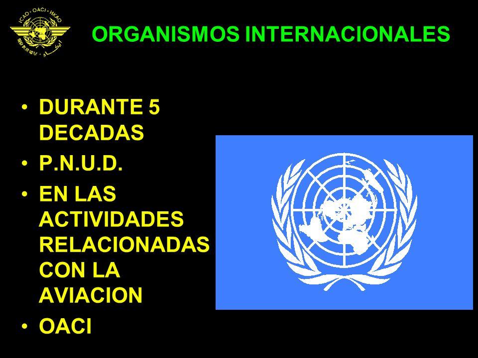 ORGANISMOS INTERNACIONALES DURANTE 5 DECADAS P.N.U.D. EN LAS ACTIVIDADES RELACIONADAS CON LA AVIACION OACI
