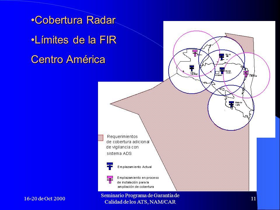 16-20 de Oct 2000 Seminario Programa de Garantía de Calidad de los ATS, NAM/CAR 11 Cobertura RadarCobertura Radar Límites de la FIRLímites de la FIR C