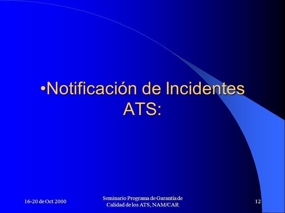 16-20 de Oct 2000 Seminario Programa de Garantía de Calidad de los ATS, NAM/CAR 12 Notificación de Incidentes ATS:Notificación de Incidentes ATS: