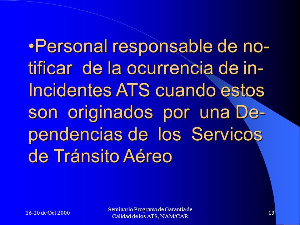16-20 de Oct 2000 Seminario Programa de Garantía de Calidad de los ATS, NAM/CAR 13 Personal responsable de no- tificar de la ocurrencia de in- Inciden
