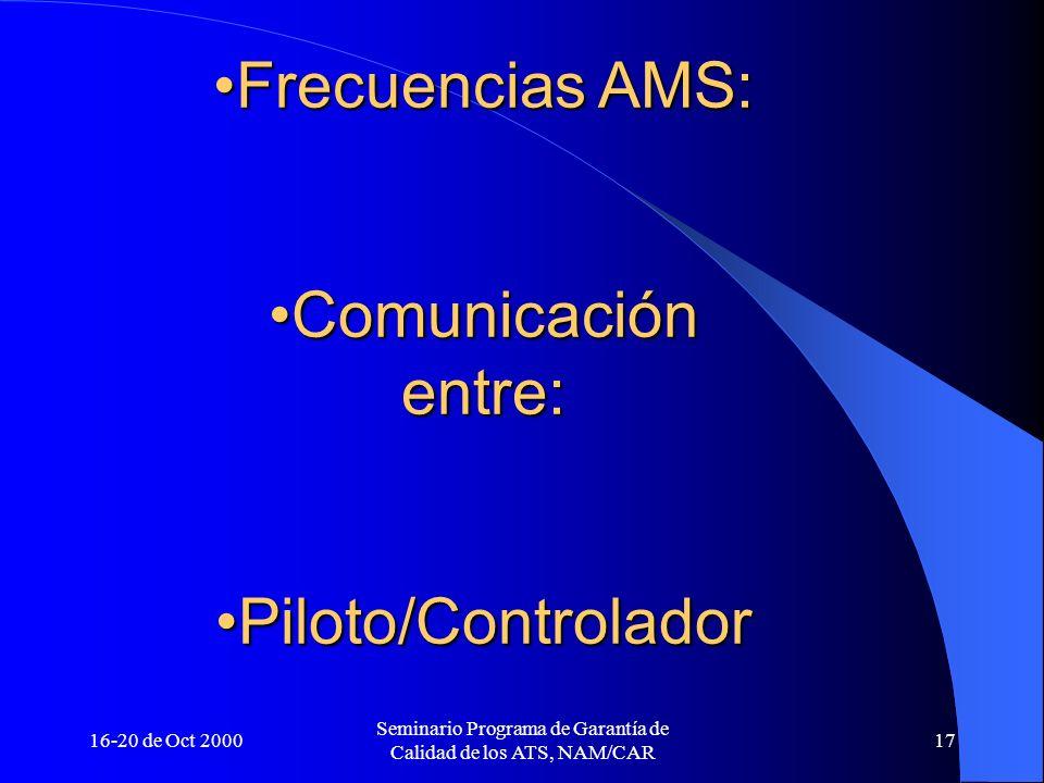 16-20 de Oct 2000 Seminario Programa de Garantía de Calidad de los ATS, NAM/CAR 17 Frecuencias AMS:Frecuencias AMS: Comunicación entre:Comunicación en