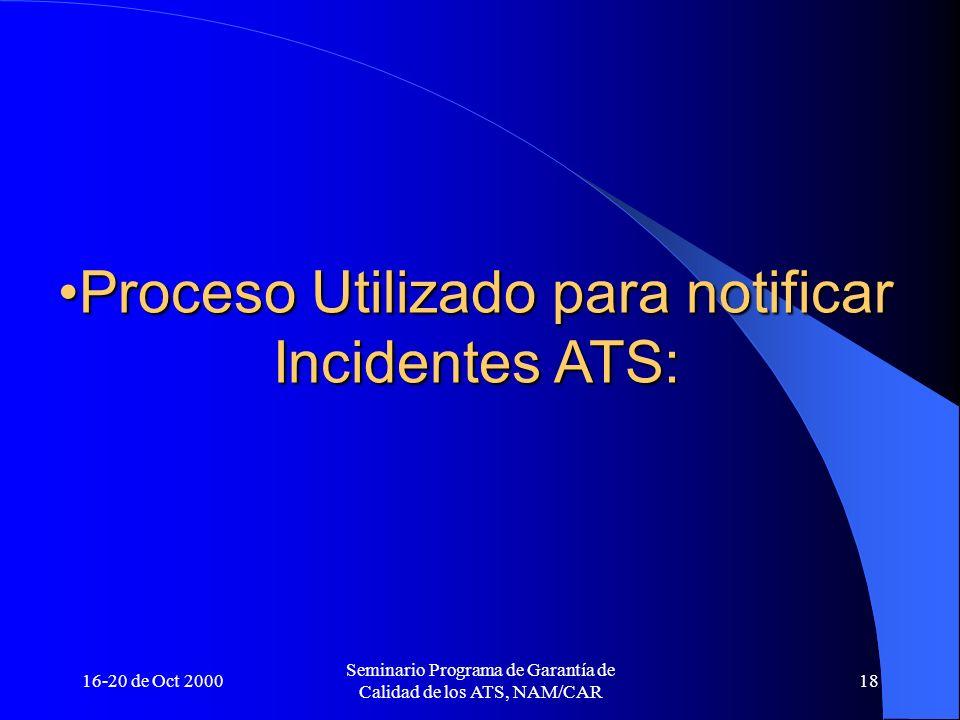 16-20 de Oct 2000 Seminario Programa de Garantía de Calidad de los ATS, NAM/CAR 18 Proceso Utilizado para notificar Incidentes ATS:Proceso Utilizado p