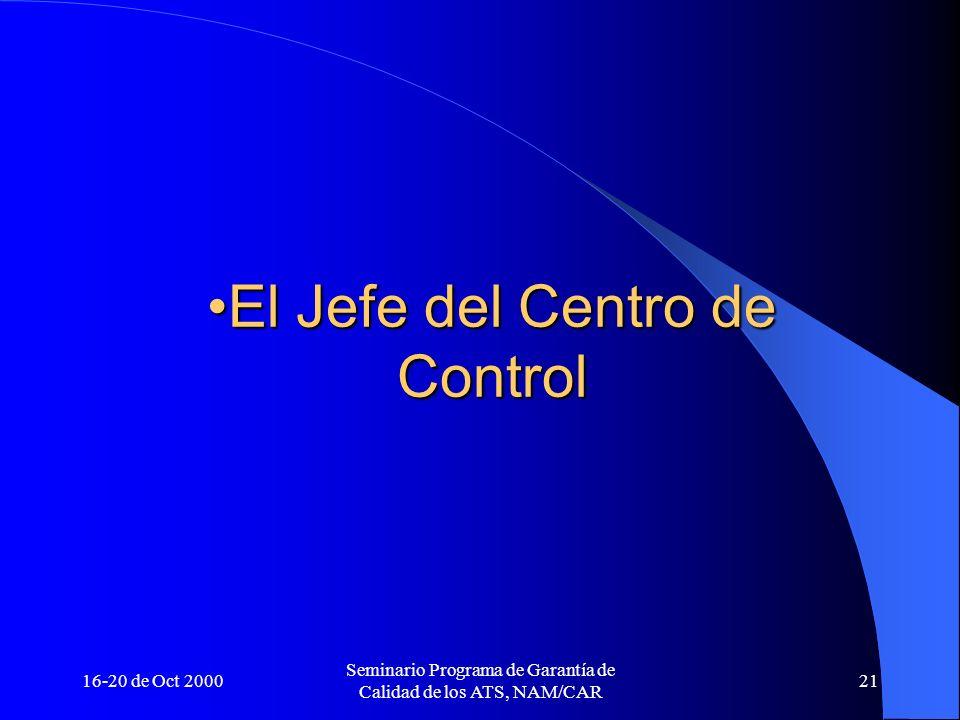 16-20 de Oct 2000 Seminario Programa de Garantía de Calidad de los ATS, NAM/CAR 21 El Jefe del Centro de ControlEl Jefe del Centro de Control