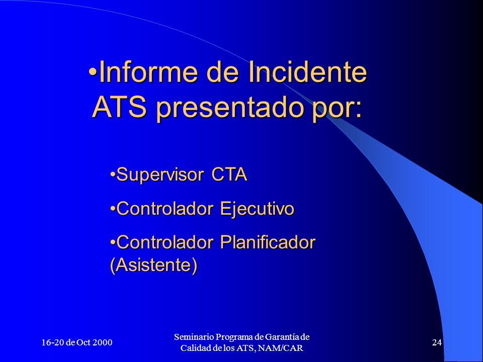 16-20 de Oct 2000 Seminario Programa de Garantía de Calidad de los ATS, NAM/CAR 24 Informe de Incidente ATS presentado por:Informe de Incidente ATS pr