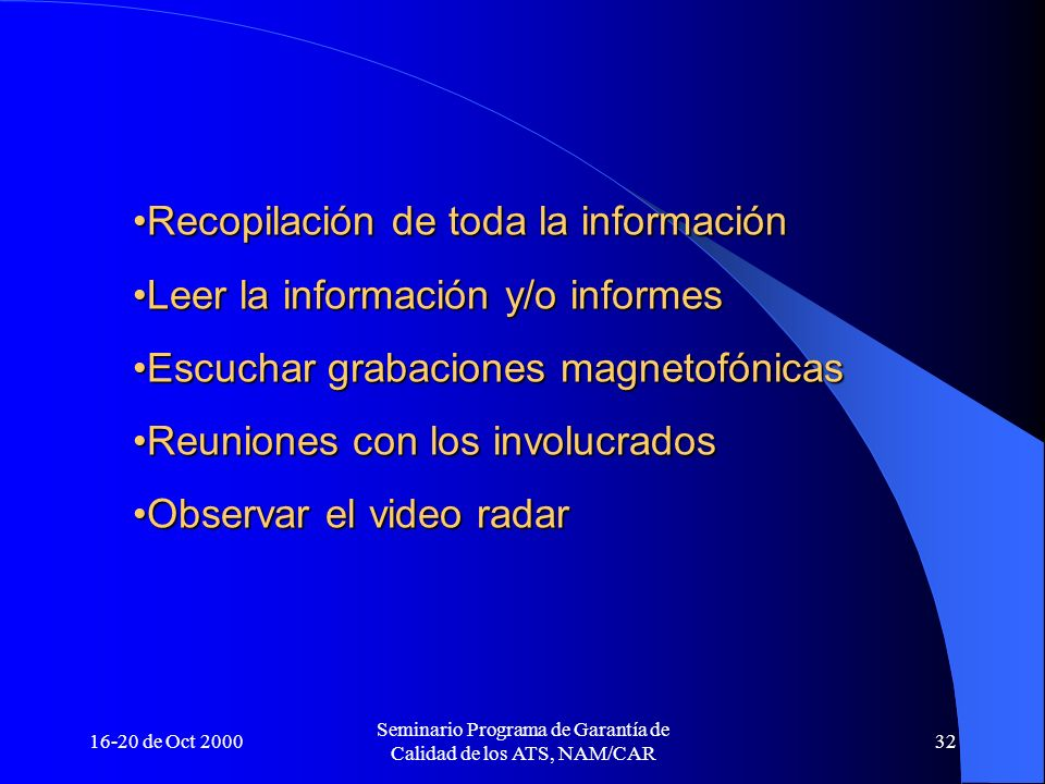 16-20 de Oct 2000 Seminario Programa de Garantía de Calidad de los ATS, NAM/CAR 32 Recopilación de toda la informaciónRecopilación de toda la informac