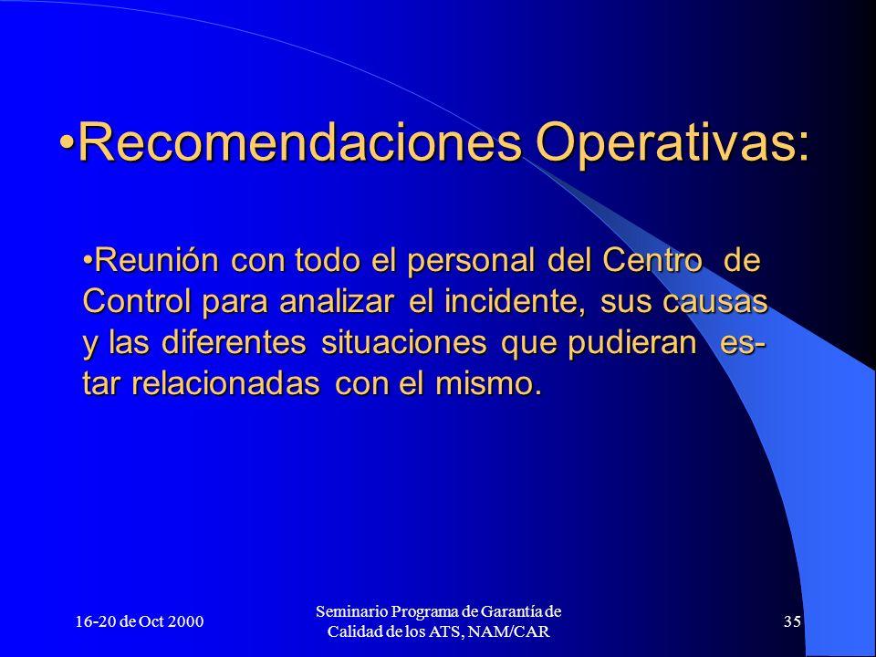 16-20 de Oct 2000 Seminario Programa de Garantía de Calidad de los ATS, NAM/CAR 35 Recomendaciones Operativas:Recomendaciones Operativas: Reunión con