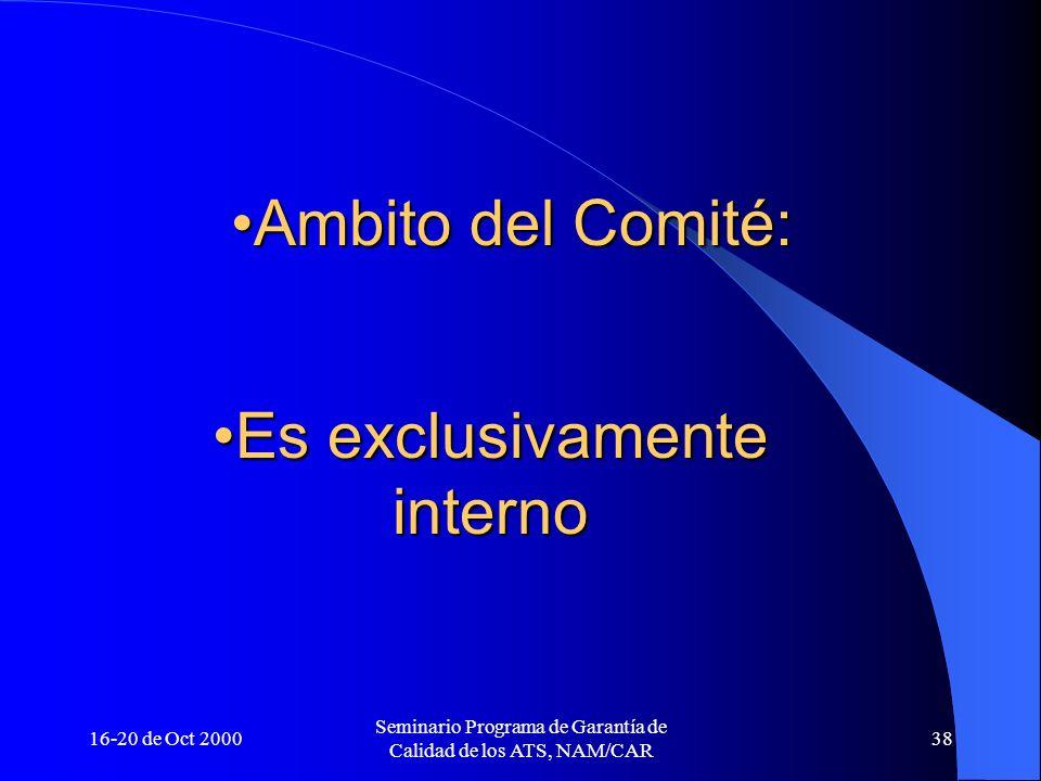 16-20 de Oct 2000 Seminario Programa de Garantía de Calidad de los ATS, NAM/CAR 38 Ambito del Comité:Ambito del Comité: Es exclusivamente internoEs ex