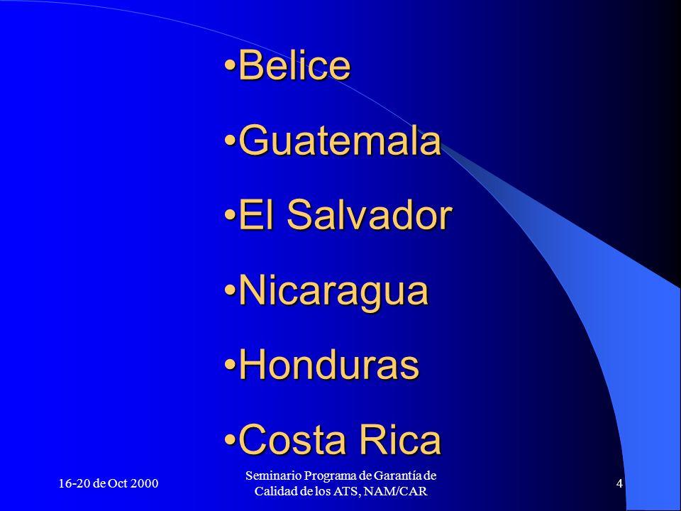 16-20 de Oct 2000 Seminario Programa de Garantía de Calidad de los ATS, NAM/CAR 4 BeliceBelice GuatemalaGuatemala El SalvadorEl Salvador NicaraguaNica