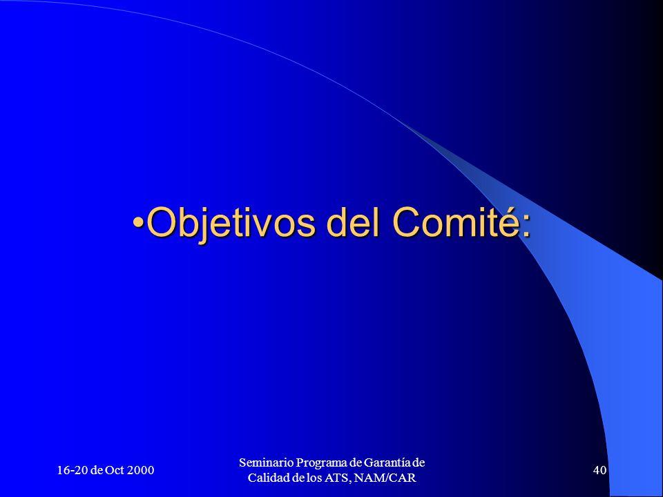 16-20 de Oct 2000 Seminario Programa de Garantía de Calidad de los ATS, NAM/CAR 40 Objetivos del Comité:Objetivos del Comité: