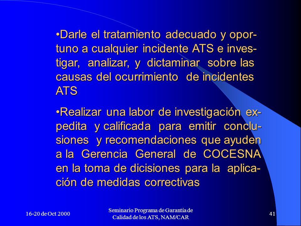 16-20 de Oct 2000 Seminario Programa de Garantía de Calidad de los ATS, NAM/CAR 41 Darle el tratamiento adecuado y opor- tuno a cualquier incidente AT