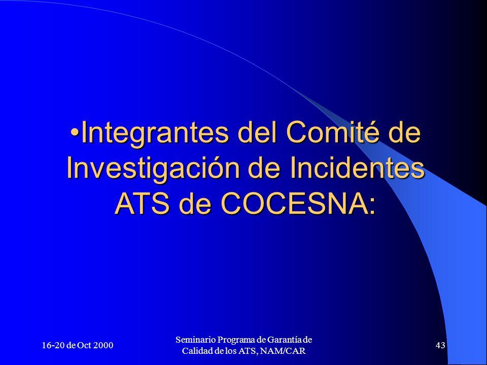 16-20 de Oct 2000 Seminario Programa de Garantía de Calidad de los ATS, NAM/CAR 43 Integrantes del Comité de Investigación de Incidentes ATS de COCESN