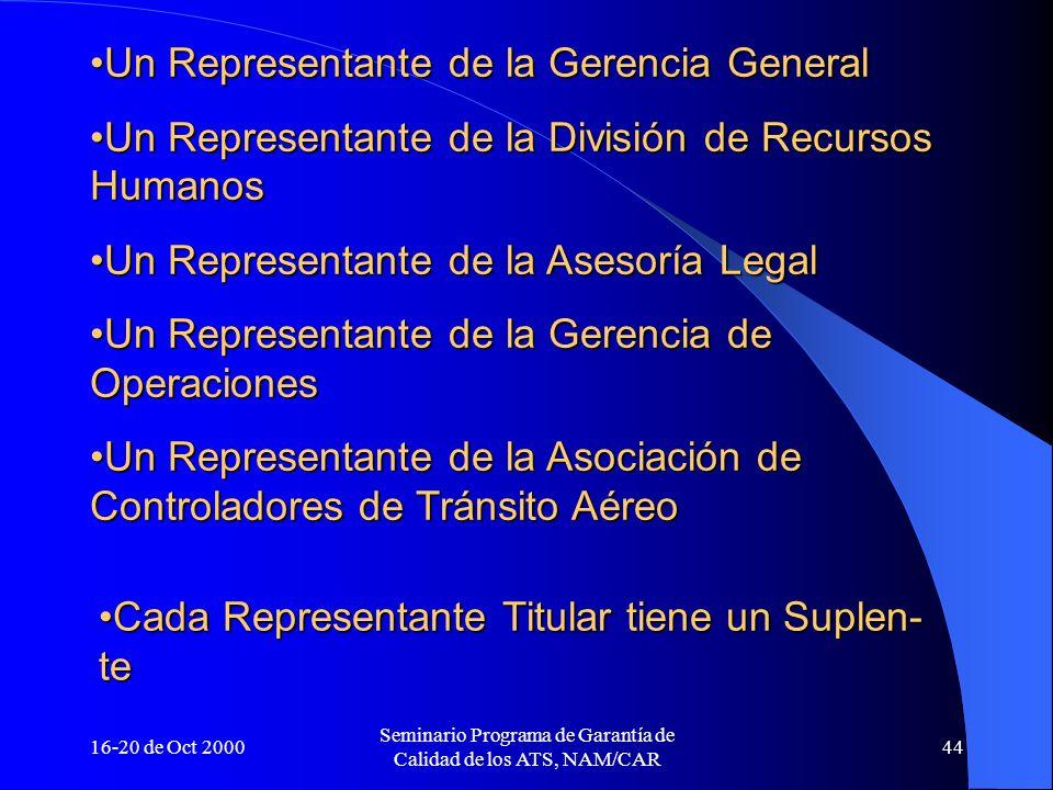 16-20 de Oct 2000 Seminario Programa de Garantía de Calidad de los ATS, NAM/CAR 44 Un Representante de la Gerencia GeneralUn Representante de la Geren