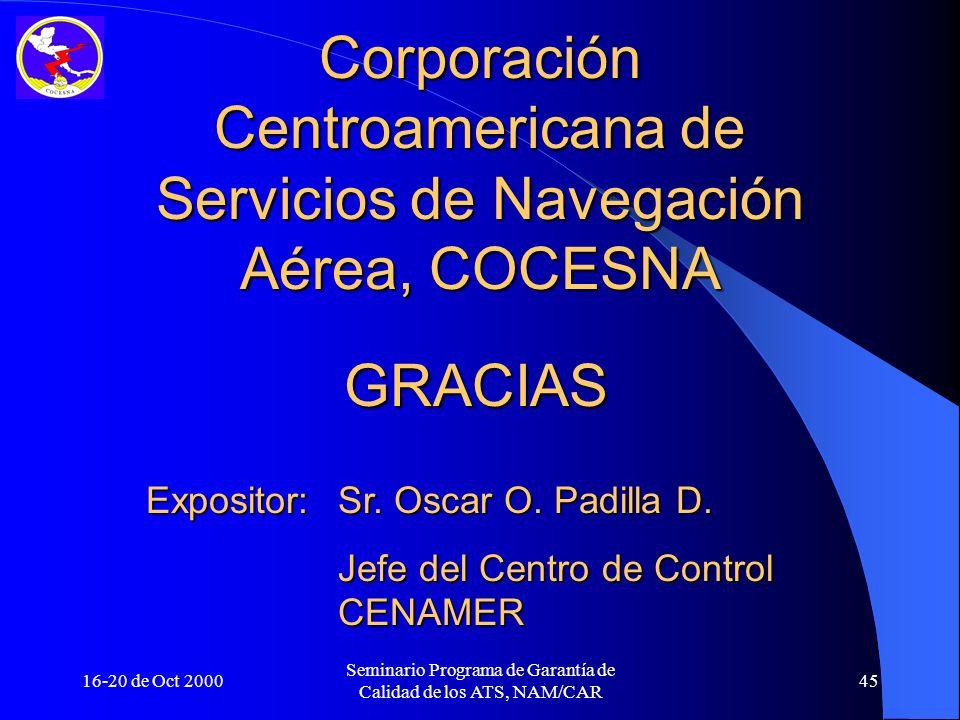 16-20 de Oct 2000 Seminario Programa de Garantía de Calidad de los ATS, NAM/CAR 45 GRACIAS Corporación Centroamericana de Servicios de Navegación Aére