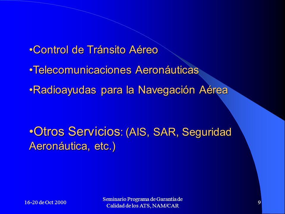 16-20 de Oct 2000 Seminario Programa de Garantía de Calidad de los ATS, NAM/CAR 9 Control de Tránsito AéreoControl de Tránsito Aéreo Telecomunicacione