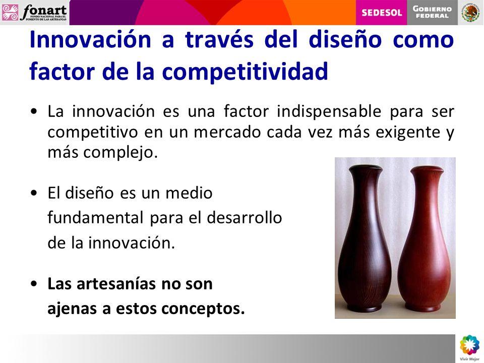 Innovación a través del diseño como factor de la competitividad La innovación es una factor indispensable para ser competitivo en un mercado cada vez más exigente y más complejo.