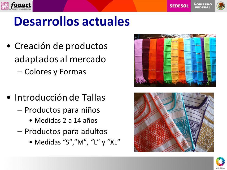 Desarrollos actuales Creación de productos adaptados al mercado –Colores y Formas Introducción de Tallas –Productos para niños Medidas 2 a 14 años –Productos para adultos Medidas S,M, L y XL