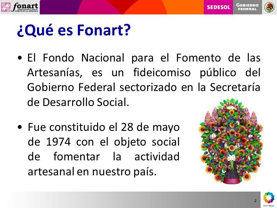 ¿Qué es Fonart? El Fondo Nacional para el Fomento de las Artesanías, es un fideicomiso público del Gobierno Federal sectorizado en la Secretaría de De