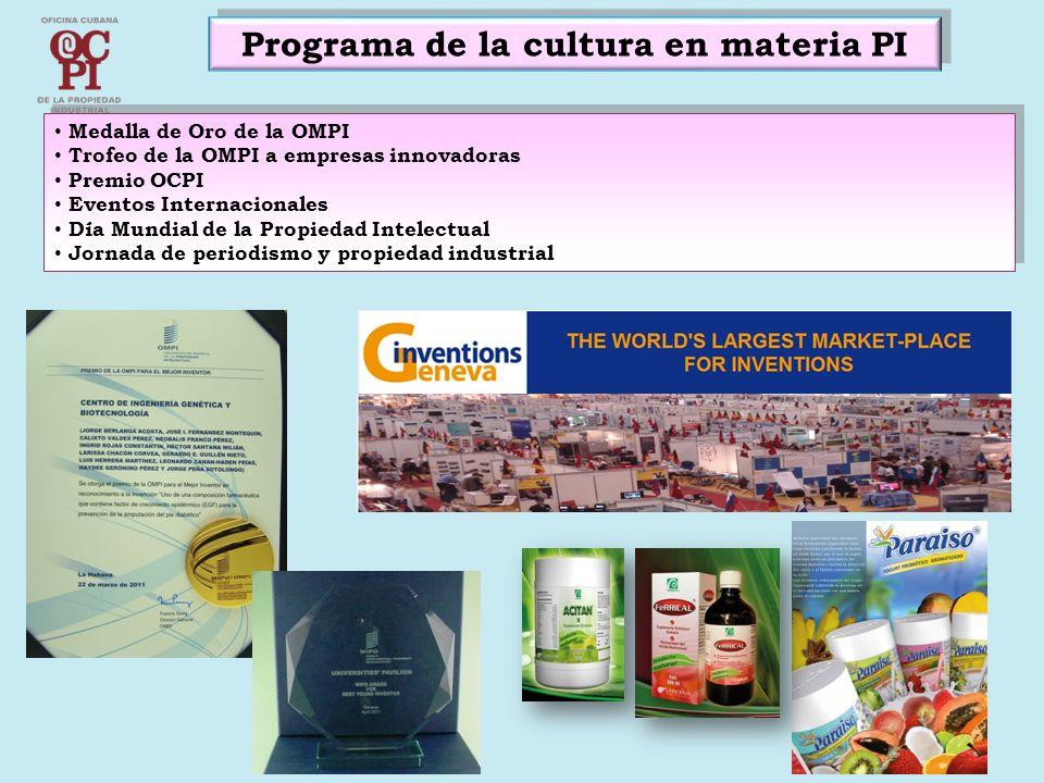 Programa de la cultura en materia PI Medalla de Oro de la OMPI Trofeo de la OMPI a empresas innovadoras Premio OCPI Eventos Internacionales Día Mundia